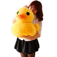 Wholesale big plush duck resale online - 1pc cm Cute Yellow Duck Plush Toys Soft Dolls Stuffed Animals Cute Big Yellow Duck plush Pillow Kids Birthday Christmas Gift Home Decor