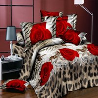 Wholesale red white king size bedding for sale - Group buy 3 D Rose and Diamond Ring Print Cotton Reactive Wedding Bedding Set King Size Duvet Covers Comforter Bed Linen Sets
