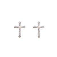 brincos opala venda por atacado-925 sterling cz stud brinco de prata para mulheres menina simples jóias