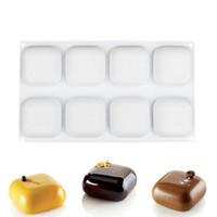 silikon edelstein schimmel großhandel-1 STÜCKE Silikon 8 Hohlraum Quadratische Form Kuchenform Zum Backen Dessert Eis Mousse Form Dekorieren tools GEM 100