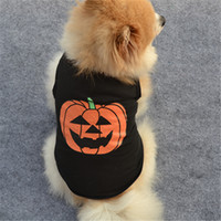 ropa de cachorro xs al por mayor-Popular Pet Puppy Cat Party Outfit Pumpkin Printing Dog Tank Merry Halloween Pets Clothing XS S M L Tamaño 4 3ye E1