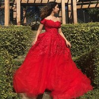 Wholesale pear charms resale online - 2020 Charming Red Prom Dresses A Line Off Shoulder Lace Applique Court Train Tiered Tulle Formal Evening Dress vestidos de fiesta