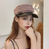 Wholesale vintage hat pins resale online - New Cotton Checked Octagonal Hats Belt Pin Buckle Design Military Hats for Women Vintage Fashion Textured Casual Hat Drop Shipping