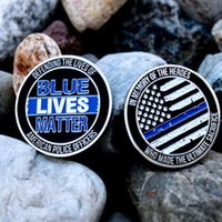 Wholesale living lines for sale - Group buy Blue Lives Matter X large Collectible Police Challenge coin Thin Blue Line