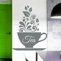 diseños de copa de vinilo al por mayor-Sala de Copa ROWNOCEAN creativo diseño de la pared de la cocina pegatinas té arte de la pared calcomanías de vinilo Decoración de estar Espejo extraíble
