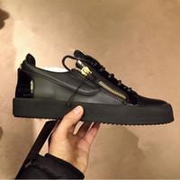 chaussures de sport à glissière pour hommes achat en gros de-2019 CHAUD Italie luxe décontracté chaussures à glissière hommes et femmes Low Top chaussures plates en cuir véritable hommes chaussures Designer Sneakers formateurs