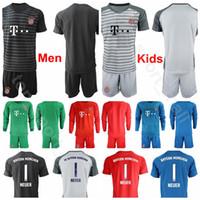 ingrosso uniforme camicia lunga-Uomo Bambini Portiere Bayern Munich Soccer 1 Maniche lunghe Manica Manuel Neuer 26 Sven Ulreich 1 Camicia da calcio Oliver Kahn Uniformi