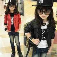 jaquetas de couro para crianças venda por atacado-Pu Leather Jacket Jacket bebé de Curto Médio Crianças Infantil Girls' atacado