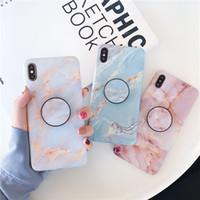 en sıcak satış telefonları toptan satış-Moda Mermer Tasarım Telefon Kılıfı için iPhone XS MAX XR X 8 7 6 S Artı Braketi ile Sıcak Satış Yumuşak TPU telefon kılıfları