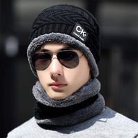 Wholesale outdoor accessories resale online - 2 Winter Hat Scarf Set Men Unisex Colors Knitting Hat Scarf Set Warm Wool Cap Scarves Winter Outdoor Accessories