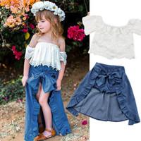 weg von schulterbaby-parteikleider großhandel-Baby Mädchen Kind Spitze Off-Schulter T-Shirt Top Hosen Kleid Party Kleidung Outfits