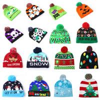chapéus de malha dos desenhos animados venda por atacado-16 cores crianças desenhador chapéus Led Cotton Natal Gorro bebê de Inverno de luxo Quente Gorros Crochet tampas cartoon chapéu partido impresso giftA03