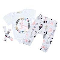 vêtements de bébé ensembles europe achat en gros de-Enfants Vêtements Ensembles Plume Imprimé Enfants Designer Vêtements Baby Girl Europe America Costume De Bande Dessinée 40