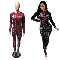 iki parça vücut kıvırcıklığı toptan satış-Şampiyonlar Harf Tulumlar İki Adet Set Uzun Kollu T Shirt Tops + Tulum Romper Kıyafetler Tasarımı Bodysuit BODYCON Eşofman Giyim S-XL