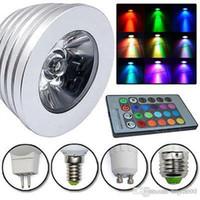 led spot uzaktan kumanda toptan satış-RGB 3 W E27 GU10 Led lamba Işık E14 GU5.3 85-265 V / MR16 12 V Led aydınlatma ampul 16 Renk Değişimi + IR Uzaktan Kumanda led ışıkları