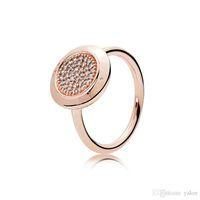 conjuntos de anillos de boda clásicos al por mayor-Conjunto de anillo de boda clásico en oro rosa de 18Q Conjunto original para Pandora 925 plata esterlina CZ Anillos de diamantes para mujeres niñas
