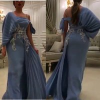 Wholesale stunning evening dresses sash resale online - Stunning One Shoulder Mermaid Prom Dresses Lace Appliques with Sashes Pleat Arabic Dubai Evening Gowns Plus Size Party Dress