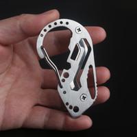 ingrosso attrezzi da campeggio gadget-Clip per carabina Moschettone da appendere multifunzione in acciaio inossidabile per appendere le chiavi Portachiavi EDC Gadget Escursionismo Attrezzi per esterni