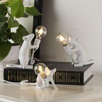 resinas de ratinho venda por atacado-Pós-moderna Resina animal Rato Camundongo lâmpada pequena mesa Mini Rato bonito LED Night Lights Home Decor Desk luzes de cabeceira Lamp