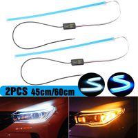 esnek drl toptan satış-LONGFENG LF56 Esnek Araba DRL Koşu Dönüş Sinyali Beyaz Amber Akan LED Bar Silikon Gündüz Çalışan Işık Far Şerit