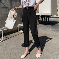 kadınlar için zarif siyah pantolon toptan satış-Kadınlar Zarif Siyah Pantolon Sashes Cepler Fermuar Fly Katı Kalem Pantolon Bayanlar Streetwear Rahat Şık Pantolon