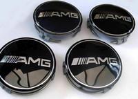 tampas de cubo do centro de benz venda por atacado-4x Mercedes Benz Alloy Wheel Center Caps 75mm Emblemas PRETO AMG Hub Emblema aro tampas estilo do carro
