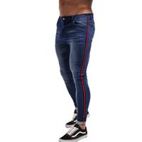 sıkı kot sıska erkek toptan satış-Skinny Jeans Erkekler Mavi Bant Klasik Hip Hop Streç Kot Hombre Slim Fit Marka Biker Stil Sıkı Erkek