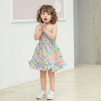 Wholesale baby beach clothing resale online - 2019 Summer kids clothes girls rainbow Stripe Dot Dress Children Girls Clothes baby suspende dress Sling Beach Dresses freeAA1981