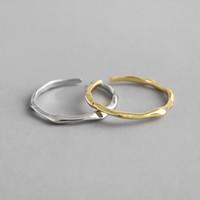 925 silberner manschettenring großhandel-925 Sterling Silber Unregelmäßige Offene Ringe Für Frauen Neue Einfache Kleine Hochzeit Band Verstellbare Cuff Ring Liebhaber Geschenke