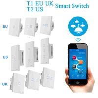 kablosuz zamanlayıcı uzaktan toptan satış-Sonoff T1 AB UK T2 ABD 1/2/3 Gang RF Wifi Akıllı Duvar Dokunmatik Işık Anahtarı Timer Ağ Uzaktan Kumanda Akıllı Ev Kablosuz Anahtarı