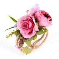 Wholesale styles mix bracelets resale online - Straw Garland Flowers Bracelet Wrist Band Party Wedding Bridesmaid Bride Colors Mix Multiple Styles Fashion EEA92