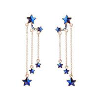 Wholesale vintage blue crystal earrings resale online - Hot Sale Blue Stars Tassel Long Earrings Delicate Alloy Vintage Drop Earring for Elegant Girls Women Fashion Jewelry
