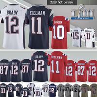 parches para jerseys al por mayor-12 Camisetas de Tom Brady New Patriot 11 Julian Edelman NCAA 87 New Jersey de Rob Gronkowski 2019 Los hombres superiores pueden parchear