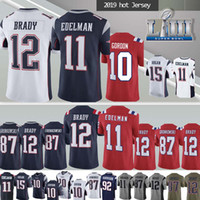camisolas venda por atacado-12 Tom Brady New Patriot camisola 11 Julian Edelman NCAA 87 Rob Gronkowski 2019 nova jérsei homens Superior pode remendo