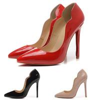 sapatos pontudos online venda por atacado-Moda Onda de Designer de Sapatos de Salto Alto Das Mulheres 12 cm Marca de Couro Dedos Apontados Bombas Vermelhas Sapatos de Vestido de Luxo Online