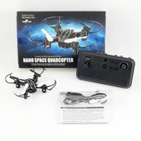 rc helicopter black al por mayor-MINI Drone V-MAX RC Quadrocopter 4CH Fácil de operar Helicóptero plegable Motores sin escobillas Máx. 5 min. Tiempo de vuelo Paquetes de cajas de cartón Negro
