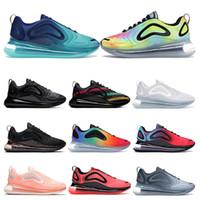 мужская спортивная обувь оптовых-Nike air max 720 Новое поступление 720 кроссовок для мужчин женщин Metallic Silver тройной черный CARBON GREY SUNSET дышащие кроссовки спортивные кроссовки размер 36-45