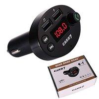 usb kartı sürücüsü toptan satış-Araç Kiti FM Vericiler Kablosuz Bluetooth Handsfree Görüşme Mic Ses Adaptörü Alıcı 5 V / 2.1A USB Hızlı Şarj Desteği Flash Sürücü TF Kart