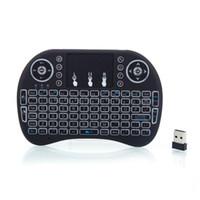 ingrosso smart tv bianca nera-Mini tastiera wireless i8 2.4GHz retroilluminazione bianca calda con touchpad nero per PC Smart Box TV Android PC