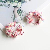 korean moda çember küpeleri toptan satış-LUBOV Kore Yeni Moda Dantel Çelenk Büyük Daire Küpe Kadınlar Için El Yapımı Simüle İnci Bildirimi Hoop Küpeler 2019 Yeni