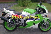 ingrosso zx ninja 95-Kit carenatura moto per KAWASAKI Ninja ZX6R 636 94 95 96 97 ZX 6R 1994 1997 ABS Greeen carenato bianco + Regali KS03