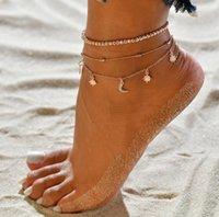 boncuk sandaletleri toptan satış-Yeni Varış Yaz Katmanlı Zincir Halhal Altın Kaplama Boncuk Zincir Yıldız Ay Charm Halhal Bilezik Sandal Plaj Ayak Bileği Takı