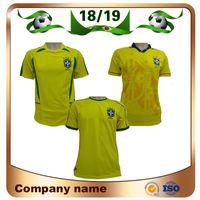 brazil dünya kupası futbol topları toptan satış-1994 Retro Baskı Brezilya Futbol Forması 1998 Dünya Kupası Brezilya Ev Futbol Gömlek 2002 Dünya Kupası Brezilya futbol üniforma Satış