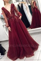 Wholesale navy lace formal top for sale - Group buy Burgundy Sexy Deep V Neck A Line Tulle Long Prom Dresses Lace Appliques Top Backless Sheer Long Sleeves Formal Party Evening Gowns