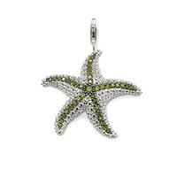 joyas de mar verde al por mayor-Verde CZ Pave Ajuste Colgantes del encanto de las estrellas de mar para las mujeres del collar de los hombres de plata de la manera de la estrella de mar DIY Accesorios de la joyería 2018 Nuevo