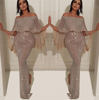 Wholesale short sexy black dress slit for sale - Group buy Sparkly Sequins Mermaid Long Evening Dress Arabic Bateau Neck Off The Shoulder Slit Pageant Formal Party Prom Gowns BC1019