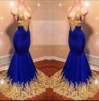 ingrosso halter blu lungamente vestiti da sera-Abiti da sera sexy allacciato al collo con scollo a V profondo africano Appliques di pizzo dorato Abiti da cocktail blu royal Abiti da sera senza schienale
