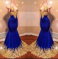 blaue afrikanische schnürsenkel großhandel-Halfter Sexy Abendkleider Afrikanische Lange Tiefem V-ausschnitt Gold Spitze Appliques Königsblau Cocktail Party Kleid Backless Abendkleider