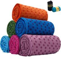 toalla de microfibra estera de yoga al por mayor-7 colores estera de yoga manta de toalla antideslizante superficie de microfibra con puntos de silicona de alta humedad secado rápido esteras de yoga al aire libre CCA11711 50pcs