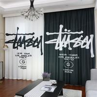 gelbe weiße vorhänge großhandel-Fashion Brand Design Vorhang Schwarz Weiß Asymmetrische Vorhänge 2 STÜCKE Brief Drucken Fenster Behandlungen Schlafzimmer Büro Vorhang